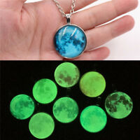 Full Moon Rising Moon Pendant Necklace Glow In The Dark Luminous Chain Women S6