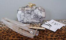 DIANE VON FURSTENBERG Silver Grey Sequin Twig LYHON Clutch Handbag
