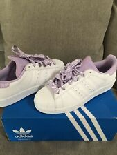 New In Box-Adidas Superstars White Purple Shoes Sneakers Size 7-8