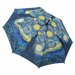Galleria Van Gogh Starry Night Automatic Open Close Compact Folding Umbrella