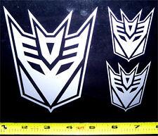 Transformers - Decepticon Set of 3 HQ Single Color Silver Vinyl Sticker Decal