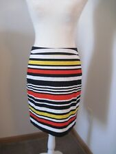 BANANA REPUBLIC Womens Sz 2 Red Navy Striped Pencil Skirt LINED Nautical NWT