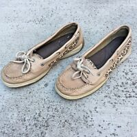Sperry Top Sider Womens Beige Leather  Flat Boat Shoes Loafer Slip On Size 6.5M