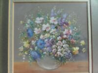 Still Life of Flowers in a Vase. Original Pastel Painting by Pat Kirby, signed.