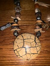 Necklace Shield & Piercings Wooden 16� Hand Carved Vintage Tribal Animal Jewelry