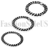 Stainless Steel Men's Punk Biker Motorcycle Curb Chain Bracelet Wristband Bangle