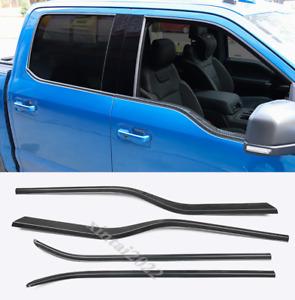 Carbon Fiber Door Window Decor Strip Cover Trim For Ford F150 F-150 2017-2019