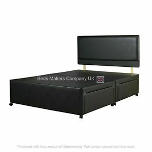 Flax Leather Divan Bed With Drawers and Plain or Designer Headboard ✅BEST ONLINE