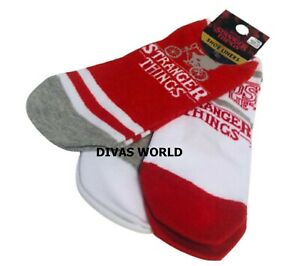 Stranger Things Ladies Shoe Liners 3 Pairs Girls Socks Christmas Gift NEW UK 4-8