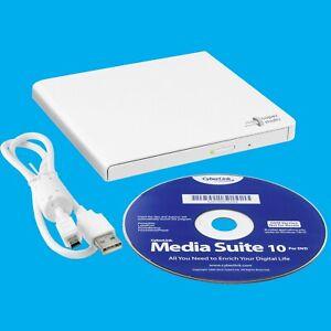 Portable White USB DVD/CD Driver Reader Writer Burner, Notebook Laptop PC MAC