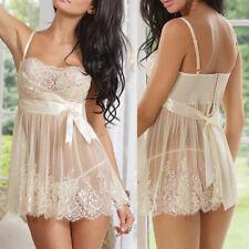 White Women Sexy-Lingerie Honeymoon Nightie Babydoll Sleepwear Lace Dress US