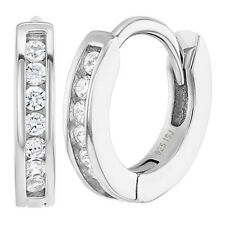 925 Sterling Silver 8mm Clear Cubic Zirconia Hoop Earrings for Toddlers & Girls