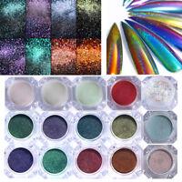 Caméléon Miroir Holographique Poudre de Ongle Paillettes Pigment Manucure DIY