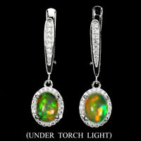 Unheated Oval Fire Opal Rainbow Full Flash 8x6mm Cz 925 Sterling Silver Earrings