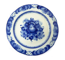 Artisan hand-painted porcelain Dessert Plate in white and blue