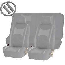 ALL GRAY POLY MESH AIRBAG READY & SPLIT BENCH SEAT COVERS COMBO FOR CARS 1343