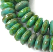 50 Czech Glass Rondelle Beads - Green Turqouise - Picasso 6x2mm