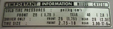 HONDA CB125J CB125S TYRE INFORMATION CAUTION DECAL