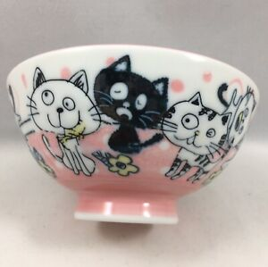"""Japanese 4.5""""D Porcelain Children Rice Bowl Funny Lucky Happy Cats Made in Japan"""
