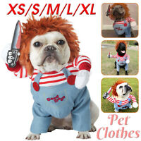 Deadly Doll Halloween Scary Dog Costumes Funny Pet Clothes Cosplay Clothing