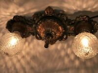Antique Vtg Art Deco Flush Mount Ceiling Wall Vanity Fixture 2 Bulb Copper Green