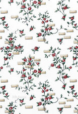 Roses Red Climbing Small Rose Brick Block White 2 Double Rolls + 3/4  Wallpaper
