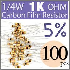 100 pcs Carbon Film Resistors 1/4W 0.25W 0.25 Watt 1000 Ohm 1KOhm 1K Ohm +/-5%