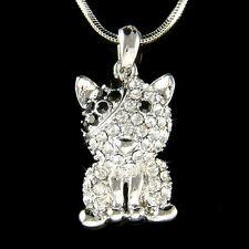 w Swarovski Crystal Bulldog Bull Terrier Dog Black Eye Patch Jewelry Necklace