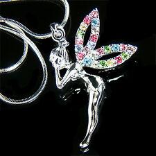 ~RAINBOW w Swarovski Crystal PIXIE~ fairy Tinker Bell Tinkerbell~ ANGEL Necklace