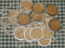 100 SMALL ROUND Metal Rim COFFEE STAINED pRiMiTiVe PRICE GIFT crafts Hang Tags
