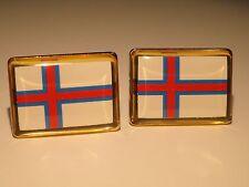 Faroe Islands Flag Cufflinks-Denmark Scandinavian European Faroese