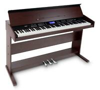 88-Tasten Digital E-Piano Beginner Home Keyboard Klavier 3-Pedale USB Braun