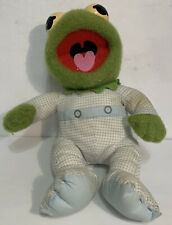 """Vtg Kermit The Frog Muppet Babies Baby Pampers 11"""" Plush Doll 1984 80s"""