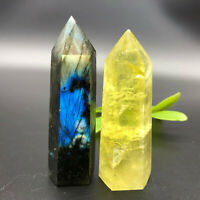 Natural labradorite citrine quartz crystal obelisk wand point healing 2pcs 120g+