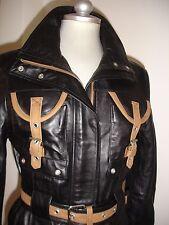 Lady's 3/4 lent Genuine 100% Napa Leather Jacket Black Zip, stud & Belt  Size S