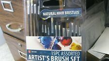 artists brush set, 15pc, natural hair, free shipping