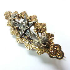 Victorian Gold Front Diamond Paste Star, Flower/Leaves Engraved Brooch