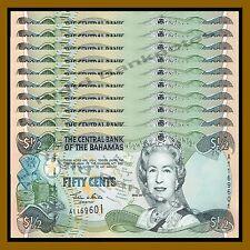 Bahamas 1/2 (Half) Dollar (50 Cents) x 10 Pcs , 2001 P-68 Queen Elizabeth II Unc