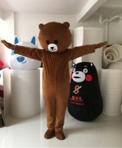 Dark Brown Smile Bear Mascot Costume Cosplay Party Fancy Dress Suit Outfit Adult