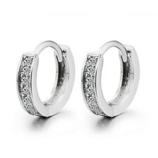 Solid 925 Sterling Silver Lady Pave White CZ Ear Huggie Hoop Earrings For Women
