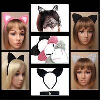 CAT EARS HEADBAND SPARKLY GLITTER HEN PARTY COSTUME CAT ALICEBAND ARIANA GRANDE