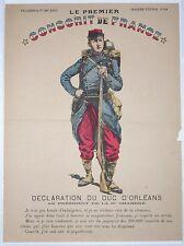 Le Duc d´Orléans 1° conscrit de France - Très rare Image d'Epinal