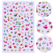 2 Sheets 3D Nail Stickers Pineapple Flower Nail Art Transfer Decals Decoration