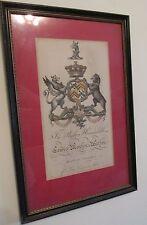 Vtg Framed Coat of Arms LEWIS MONTON WALTON Armorial Crest Baron Sondes Print