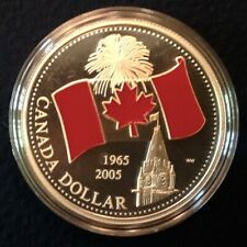 2005 Canada Proof Silver Dollar with Enamel Canada Flag Boxed with COA