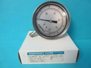 "ASHCROFT PRESSURE GAUGE 35 1009 SW 02L 0-2.5 KSC KG/CM2 0-35 PSI 3.5"" DIAL 1/4"""