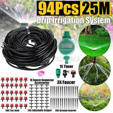 94Pcs 82ft Auto Drip Irrigation System Kit Timer Micro Sprinkler Garden Watering