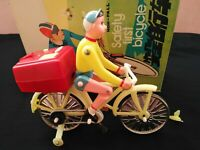 Vintage toys Tin ME 830 Safety First Bicycle Operated Battery. China 1960s