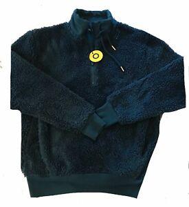 M&S Ladies Funnel Neck Half Zip Emerald Green Fleece Jumper Size 10