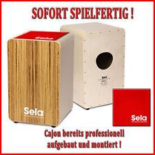 Sela CaSela Zebrano - Professional Snare Cajon - SE004A mit Sela Cajon Pad Red